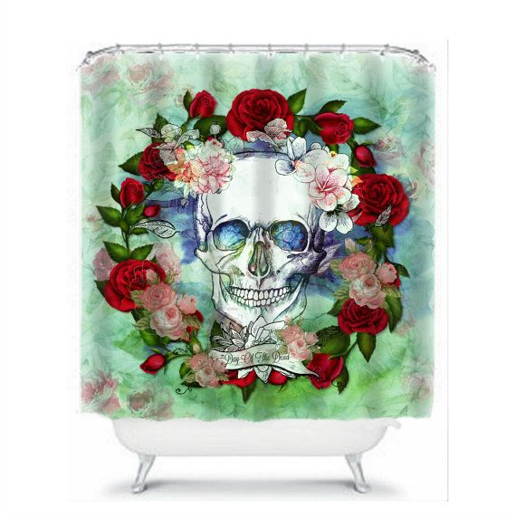 Watercolor Skull Shower Curtain Day of the Dead by FolkandFunky ...