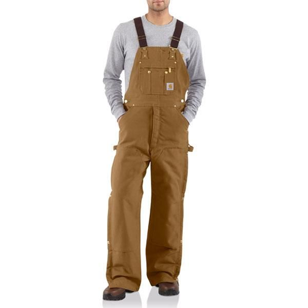 carhartt men s carhartt brown quilt lined zip to thigh bib on insulated overalls for men id=70503