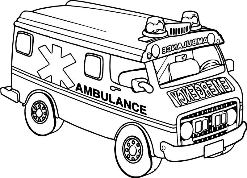 Transportation Ambulance Car Coloring Page Gambar Seni Seni Menggambar