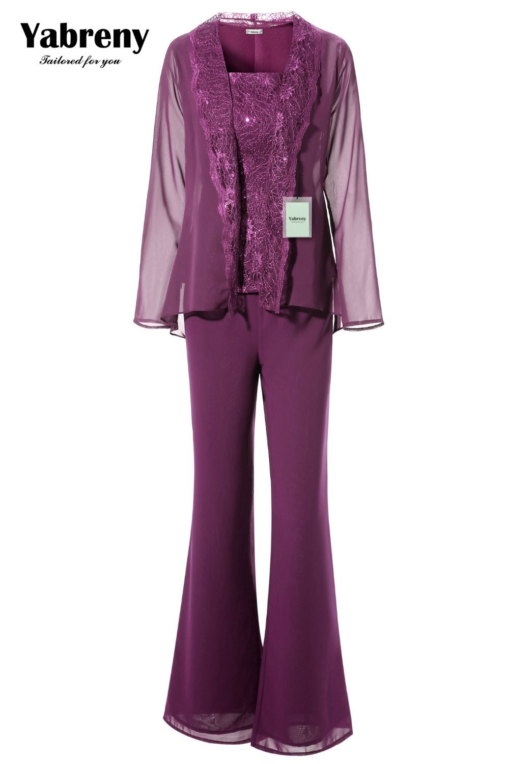 Yabreny Purple Mother of the bride Trousers suit with jacket Elegant ...