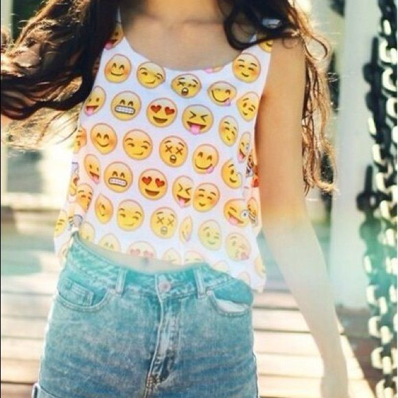 Emoji Crop Top Never worn and still in packaging! Cute & unique emoji crop (tank) top, perfect for summer! The images/emojis on the top are clearly printed and not blurry at all. Definitely eye-catching and bound to make your friends jealous. This sells for $37 on Fresh Tops (not including the cost of shipping) and can be yours for only $13 (not including the cost of shipping). Feel free to ask any questions. I am also willing to do bundle shipping! Fresh Tops Tops Tank Tops