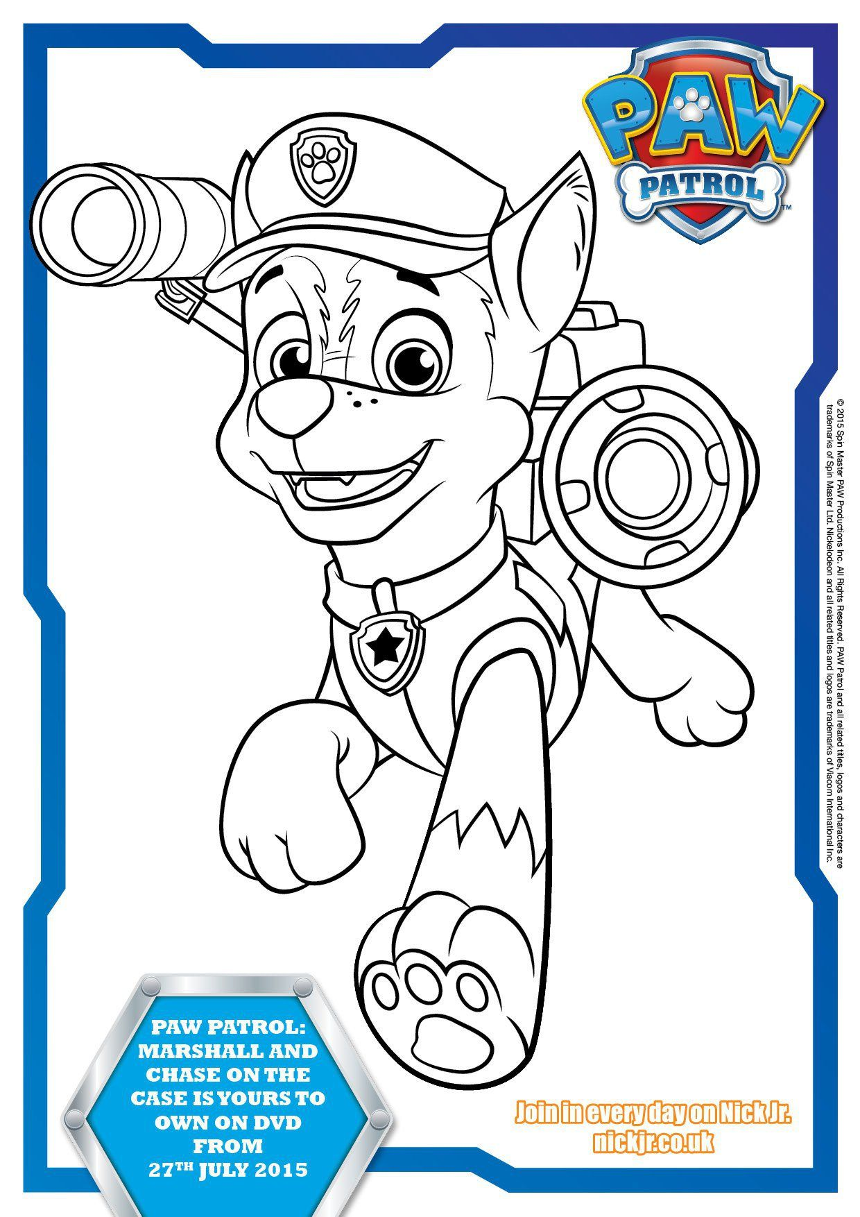 Coloring pages of chase from paw patrol - Paw Patrol Colouring Pages And Activity Sheets