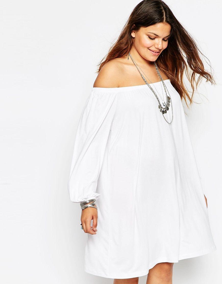 White off the shoulder dress asos