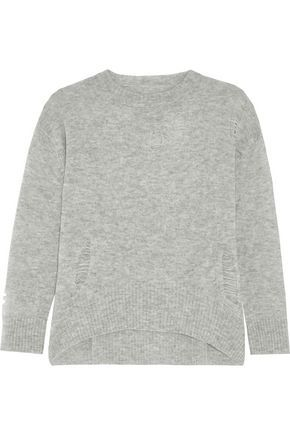 Enza Costa Woman Distressed Mélange Wool And Cashmere-blend Sweater Light Gray Size S Enza Costa Clearance Store Online Recommend For Sale Cost Cheap Online Cheap Wholesale Price Buy Cheap Official Site 4R0YYr5C