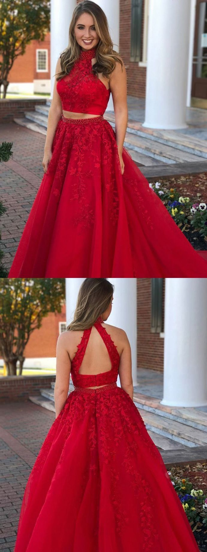 Two piece high neck open back dark red beaded prom dress with appliques