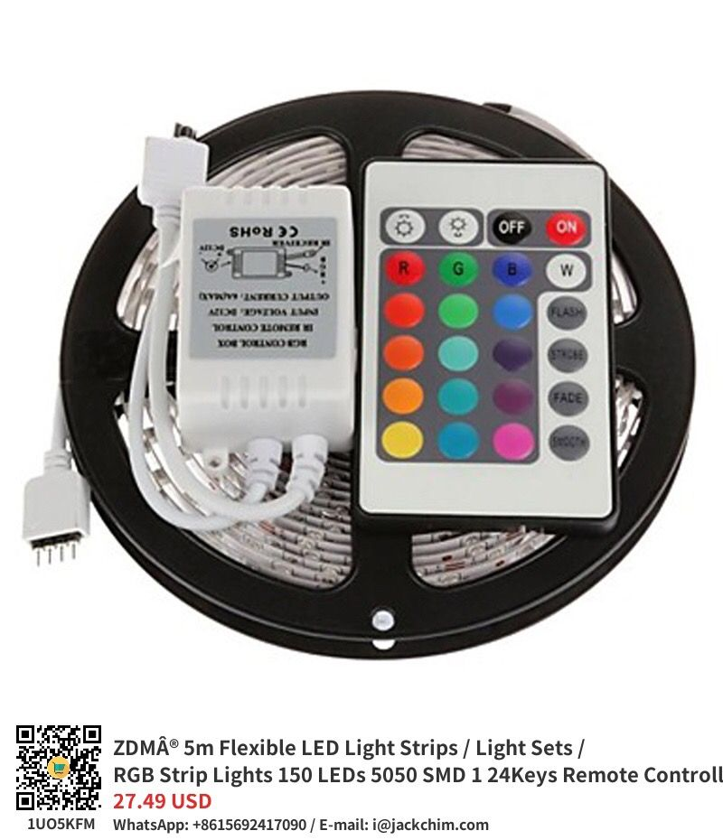 Zdma 5m Flexible Led Light Strips Light Sets Rgb Strip Lights 150 Leds 5050 Smd 1 24keys Remote Con Led Strip Lighting Strip Lighting Rgb Led Strip Lights