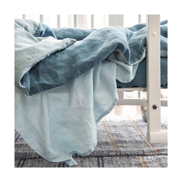 Detail from our new kids collection. Little Boy Blue, Storm Blue and Marine European flax linen.  Styling @ncinteriors  Photo @cricket_studio  #societyofwanderers #bedroom #kidsroom #linen #bedlinen