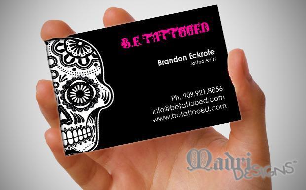 Tattoo Artist Business Card and custom logo for B.E. Tattooed by Madri Designs (Designer: Megan Horne)  https://www.facebook.com/madridesigns