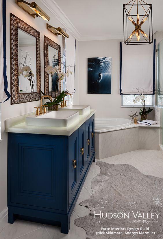 Hudson Valley Lighting Glendale Lantern Navy Bathroom Gold Bathroom Decor Blue Bathroom Decor