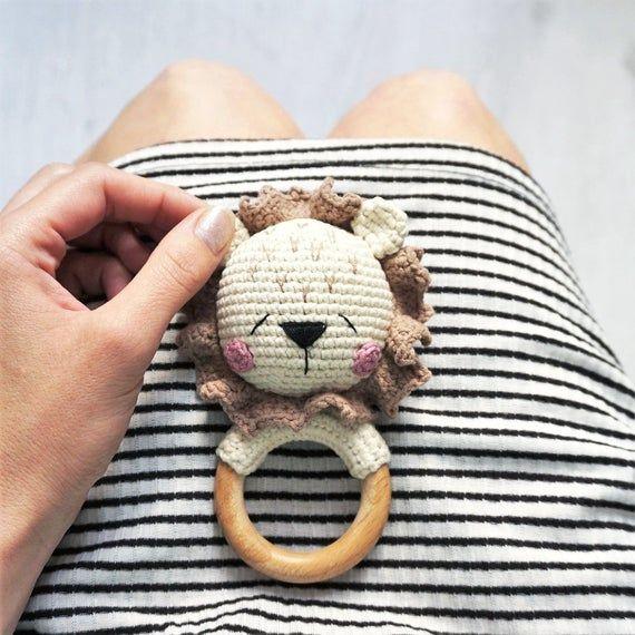 Photo of Crochet pattern, Lion, crochet rattle, PDF, amigurumi pattern, crochet toys, amigurumi rattle teether ring