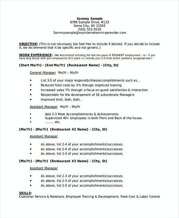 Restaurant Manager Business Plan Resume  Restaurant Manager