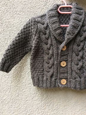 Photo of Gray Knitted Baby Cardigan, Baby Boy Cable Sweater, Hand Knit Winter Coat, Coming Home Outfit, Baby Knitwear, Birthday Gift, Photo Prop Coat