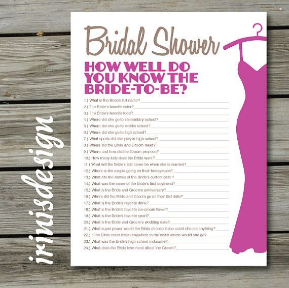 Bridal Shower Game, Quiz, How Well Do You Know The Bride