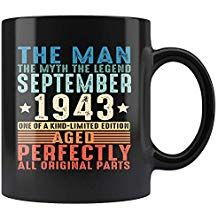 379d384d786 1943 September 75th Birthday Gifts Teepipie The Man The Myth The Legend  Black 75 Years Old Coffee Mug 11oz Tea Cup Funny Birthday Gift for Men  Women Vintage ...