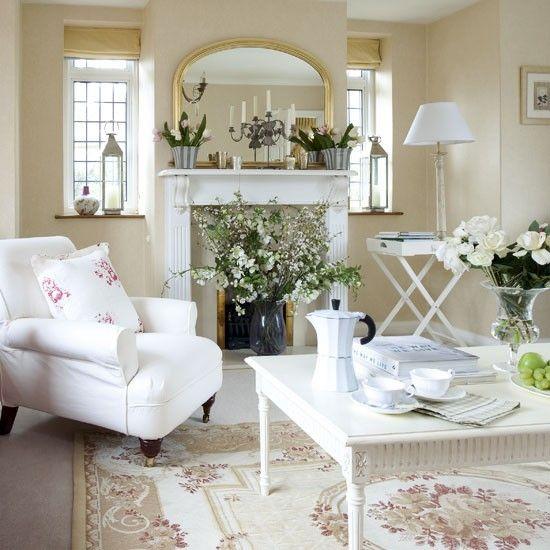 Classic Country Living Room Neutral Living Rooms White Furniture Ideal Home Sala De Estar Country Sala De Estar Chique Decoracao Em Branco