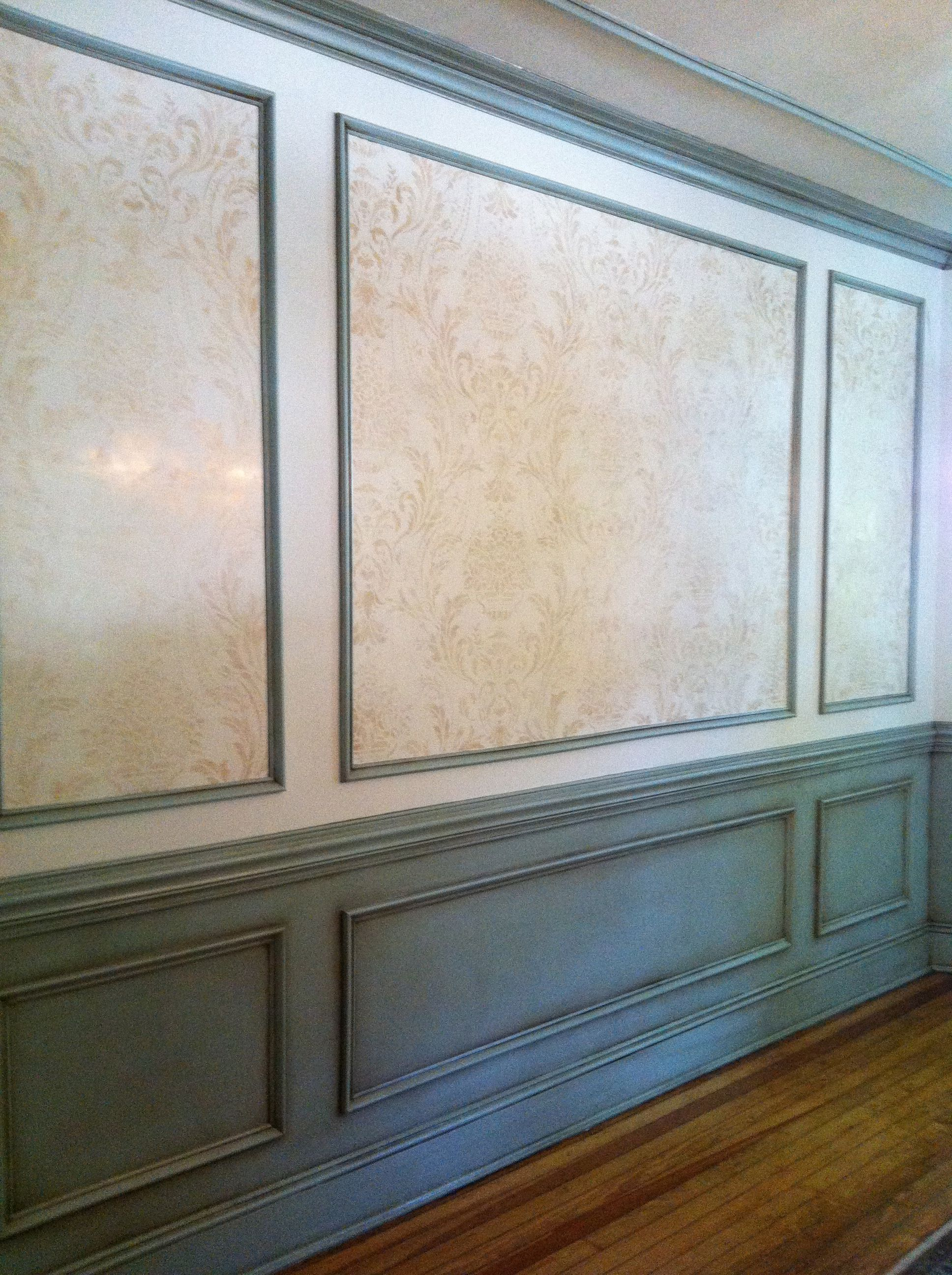 Above Chair-rail: Venetian Plaster with repeat stencil in ...