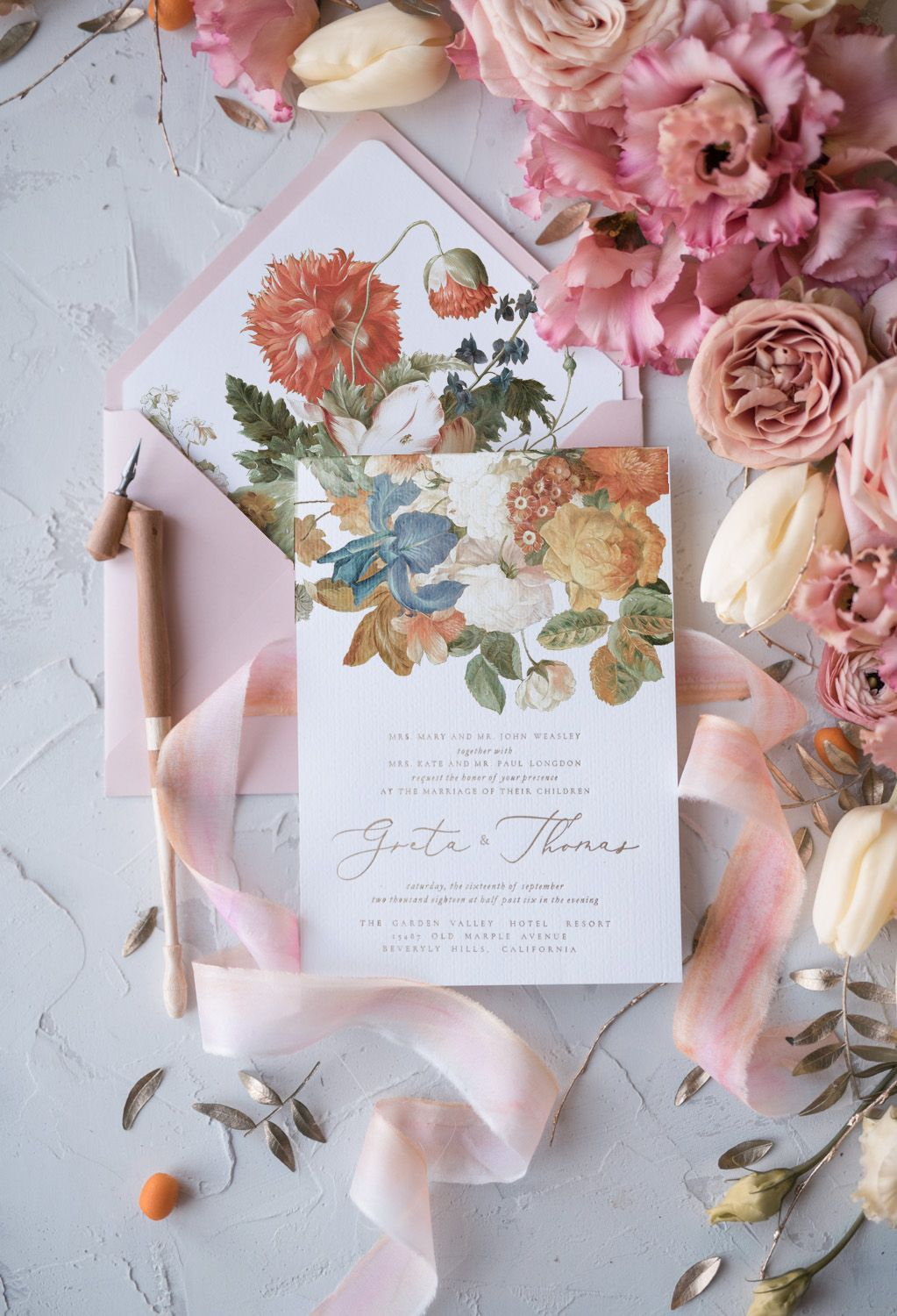 Romantic Handmade Wedding Invitation Design With Modern Calligraphy Whole Is Touched Elegance And Love Envelope Flower Liners: Homemade Wedding Invitation Design At Reisefeber.org