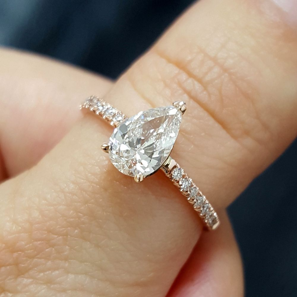 1 15 Carat Pear Shape H Vs1 14k Rose Gold Diamonds Engagement Ring Certified Rose Engagement Ring Pear Engagement Ring Pear Shaped Engagement Rings