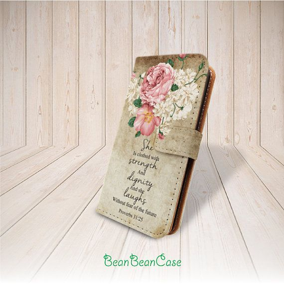 vintage flower quote flip pu leather cover case proverb phone wallet case by