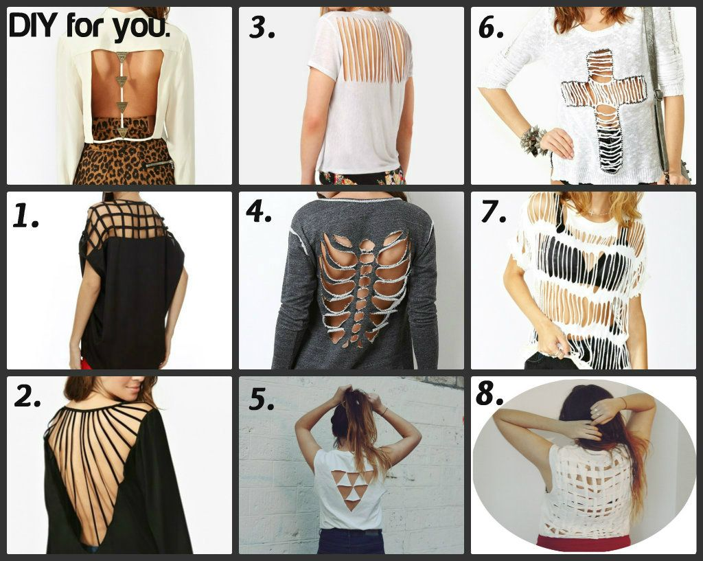 different ways to cut your tee shirt clothess pinterest. Black Bedroom Furniture Sets. Home Design Ideas