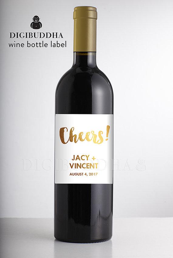 Real Gold Foil Wedding Wine Label Champagne Bottle Label Reception