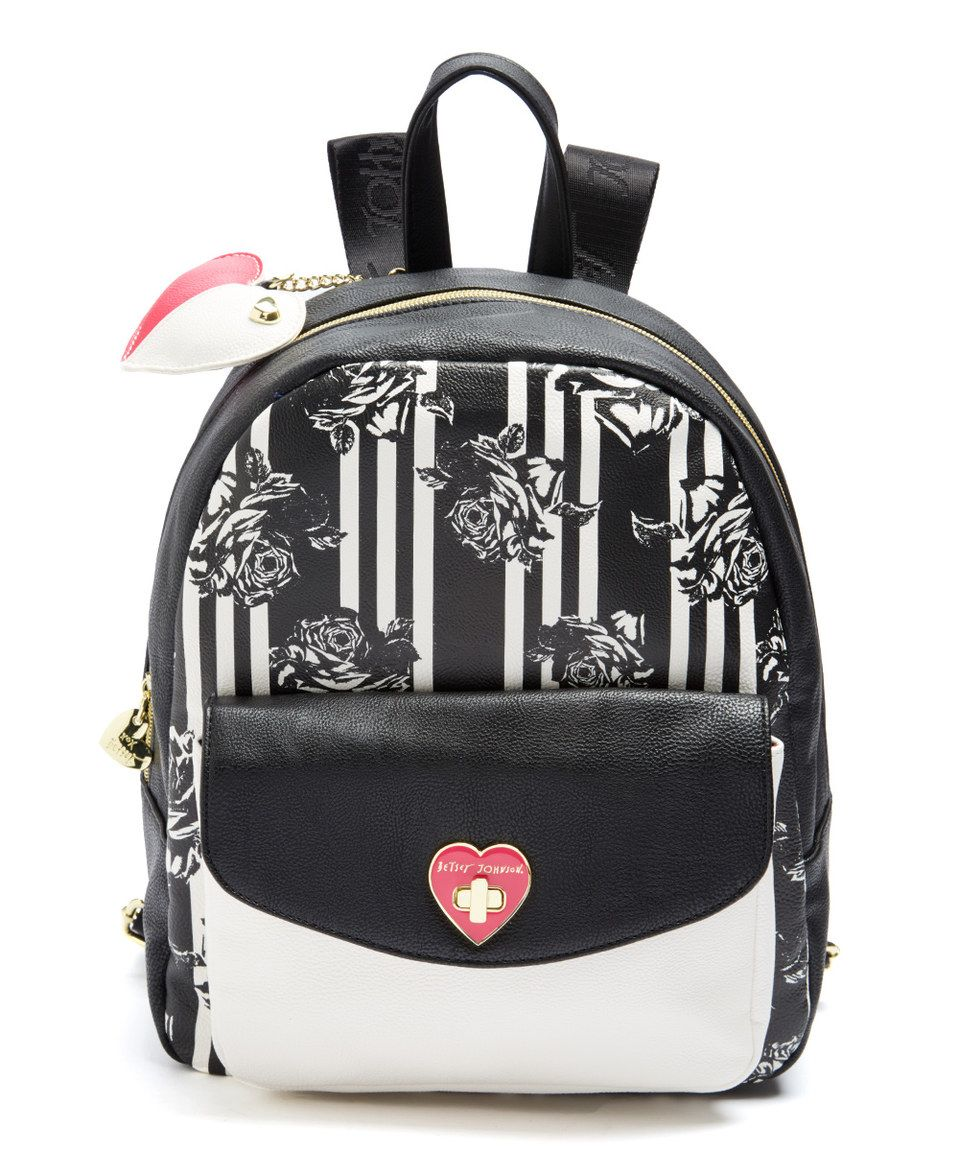 6fa7b7290f Look what I found on  zulily! Black Floral Be Mine Backpack by ...