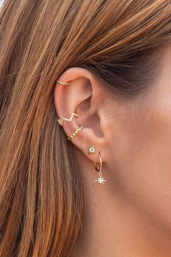 Dainty Pyramid Spikes Conch Ear Cuff Earrings