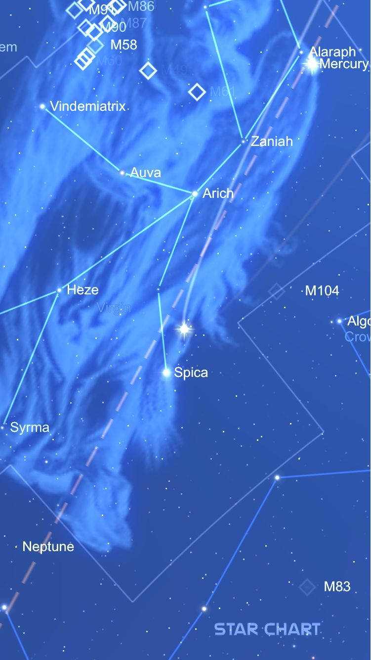 An Image Of Venus Created Using Star Chart WwwStarchartInfo