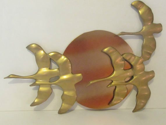 Mid Century Brass Wall Plaque Geese & Sun Wall by Sisters2Vintage