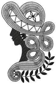 Dame machine embroidery design. Machine embroidery design. www.embroideres.com