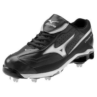 Mizuno 9 Spike Classic Low G6 Switch Metal Baseball Cleats Black/Wht (Size  12