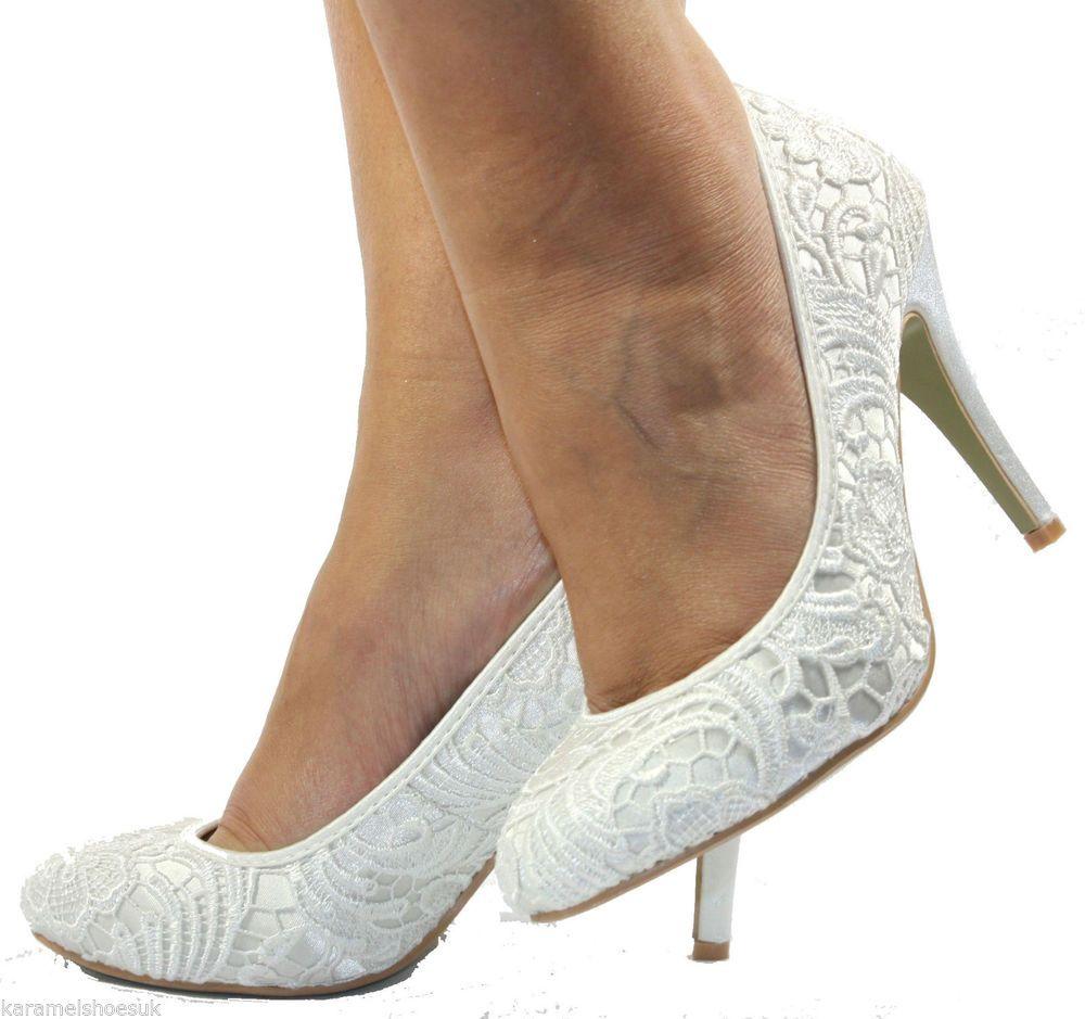 WOMENS MID HEEL LADIES WHITE CREAM BRIDAL WEDDING BRIDE PROM SHOES SIZE 3-8