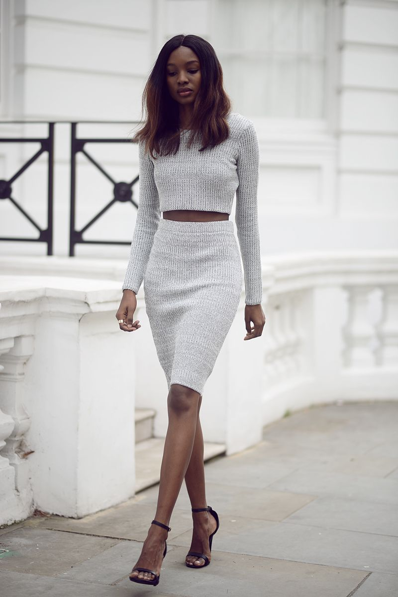 Simple grey matching crop top with skirt. Fashion, outfit ...