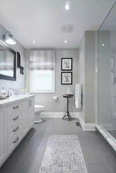 Gray Floor Tiles Gray Walls White Trim Dark Wood Mirror Frames Timeless Bathroom Bathroom Trends Bathroom Remodel Master