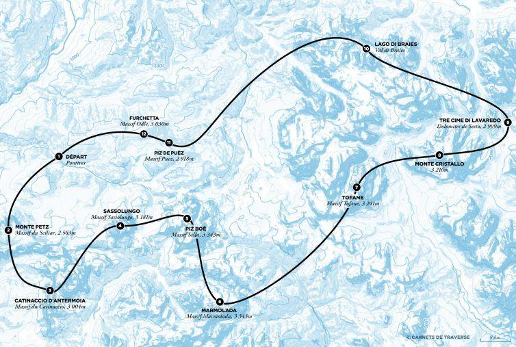 Dolomites Road Trip Italie Carte Vol Helicoptere Trajet Les Plus