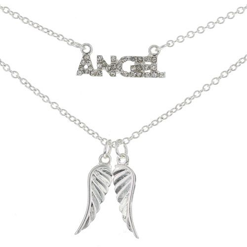 2 Pack Angel and Wings Pendant Necklaces