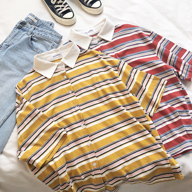 retro striped polo shirt