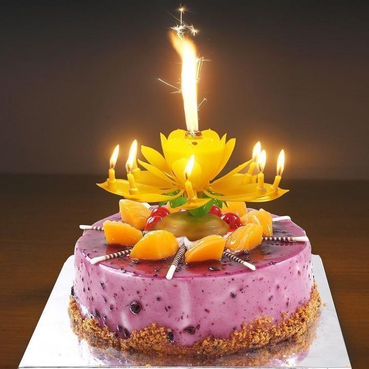 Music Singing Candle Spin Lotus Happy Birthday Wedding Celebrating Cake Candles
