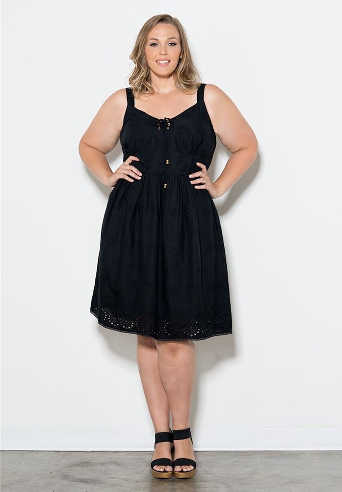 Monica Eyelet Dress Robe Clothes And Black