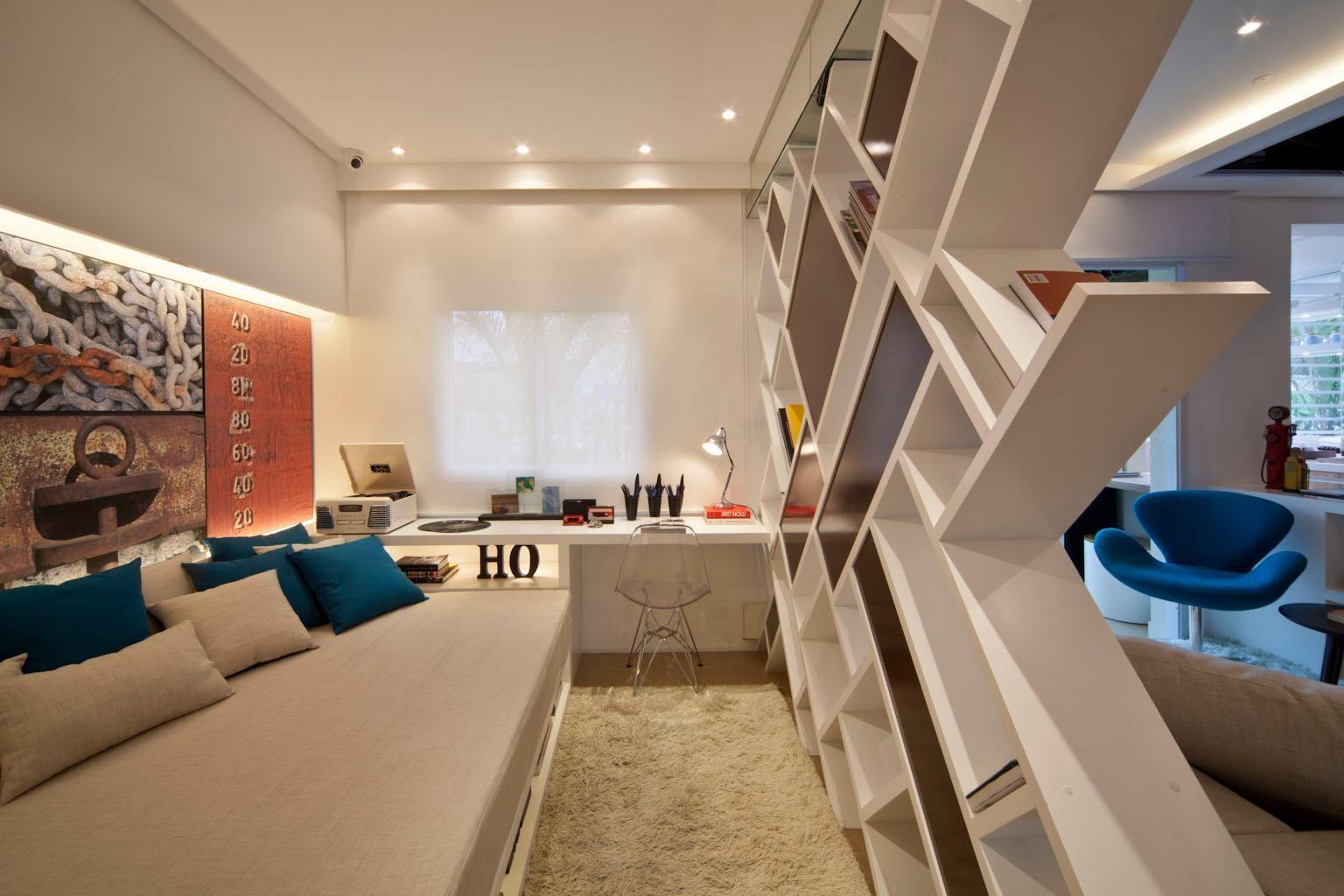 Apartamentos Pequenos 2 Quitinetes Fernanda Estante  ~ Quarto Com Varanda Integrada E Prateleira Quarto Menina