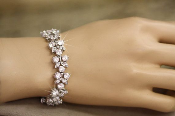 Bridal Bracelet Cubic Zirconia Bracelet Wedding Bracelet Bridal Cuff Crystal Leaf Clea Diamond Bracelet Design Bridal Bracelet Handcrafted Silver Jewelry