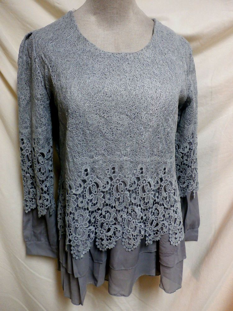 660ae829918 M.P.F. NWT Gray Embroidered Lace Sheer Layered Long Sleeve Blouse ...