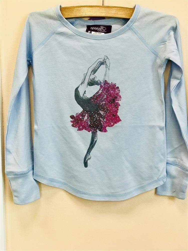 f683fbe0 Sparkle by Stoopher Light Blue Long Sleeve Ballerina Shirt #dancer # ballerina