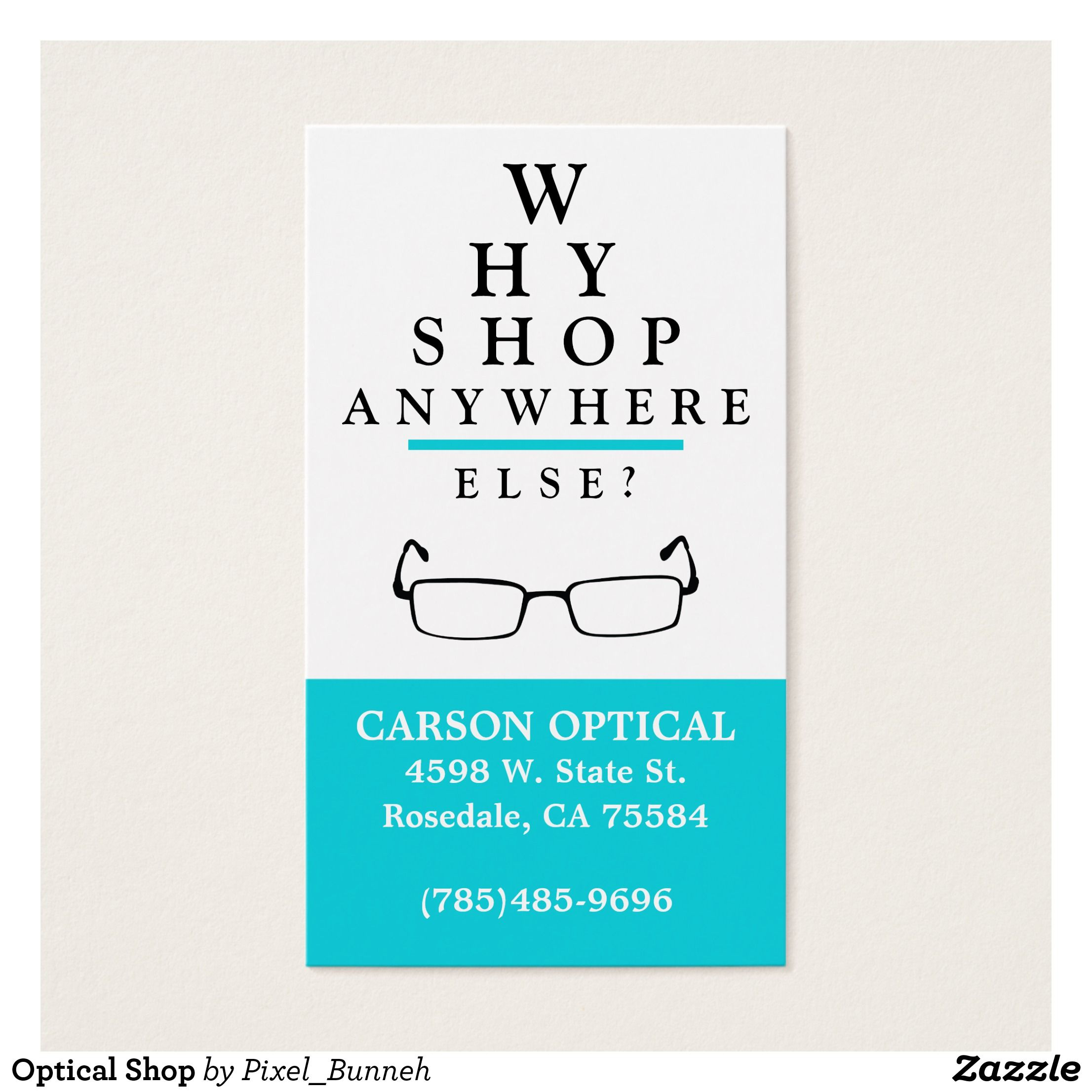 Optical Shop Business Card Zazzle Com In 2021 Optical Shop Doctor Business Cards Business Card Template