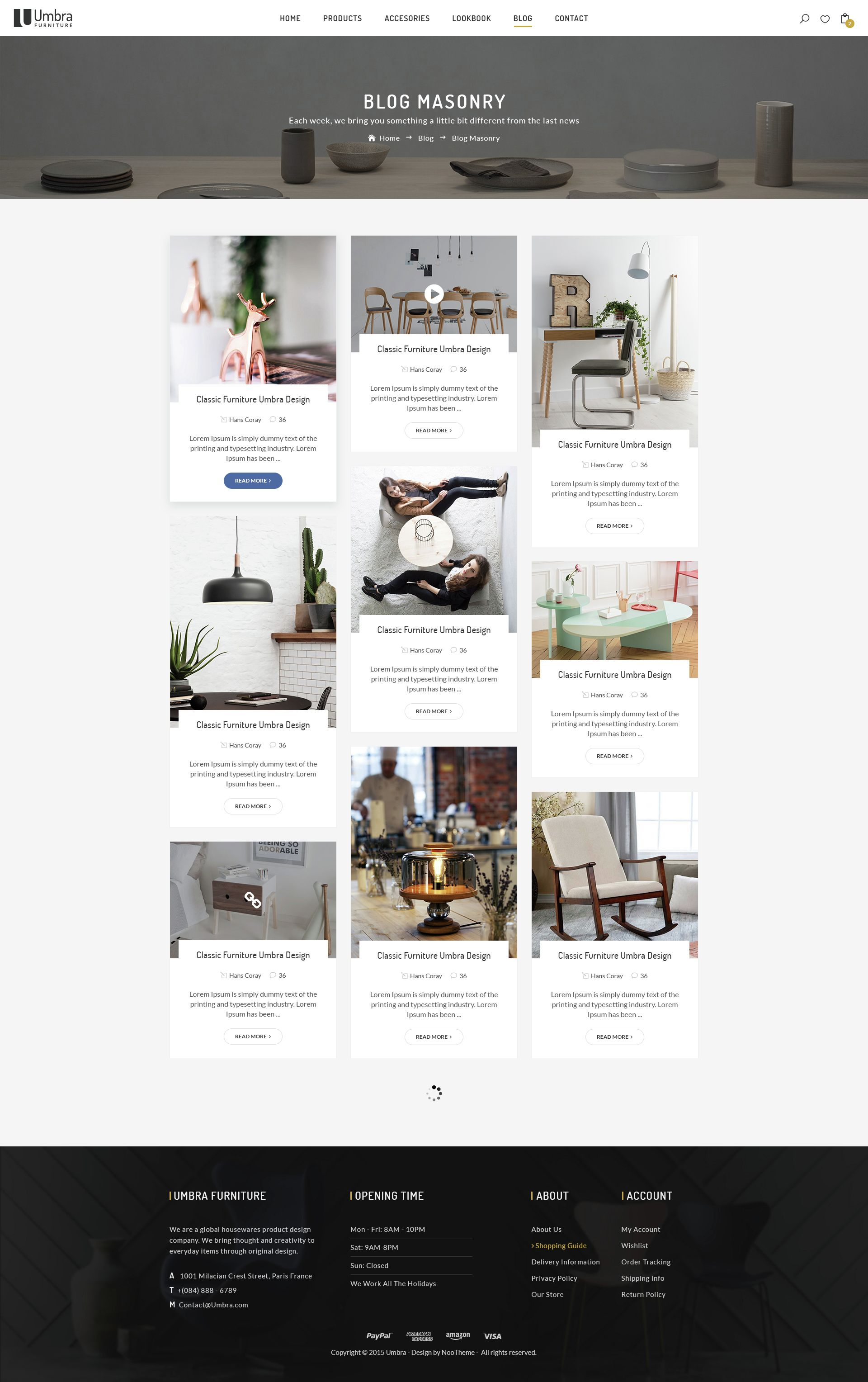 Umbra Is The Premium Psd Template For Interior And Furniture Shop
