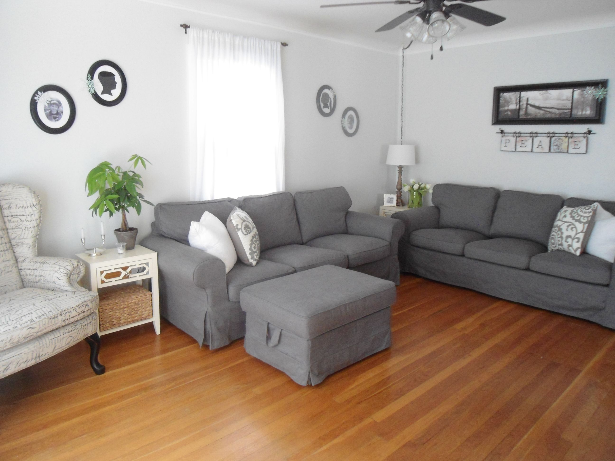 Grey Half Couch Neutral Living Room Paint Color Benjamin Moore Gray Owl