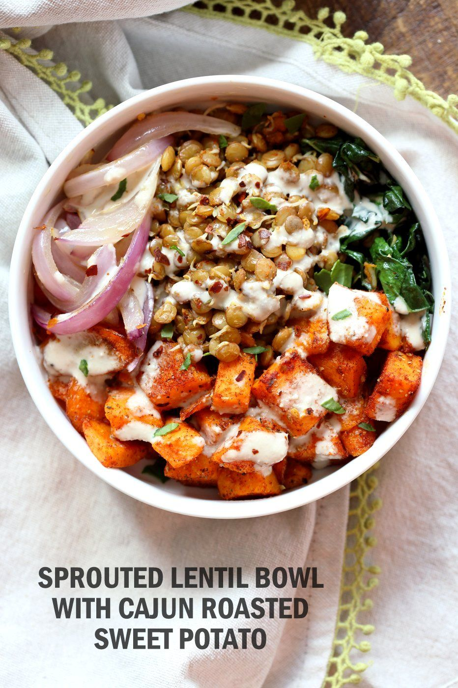 Spiced Sprouted Lentils Cajun Roasted Sweet Potato Bowl