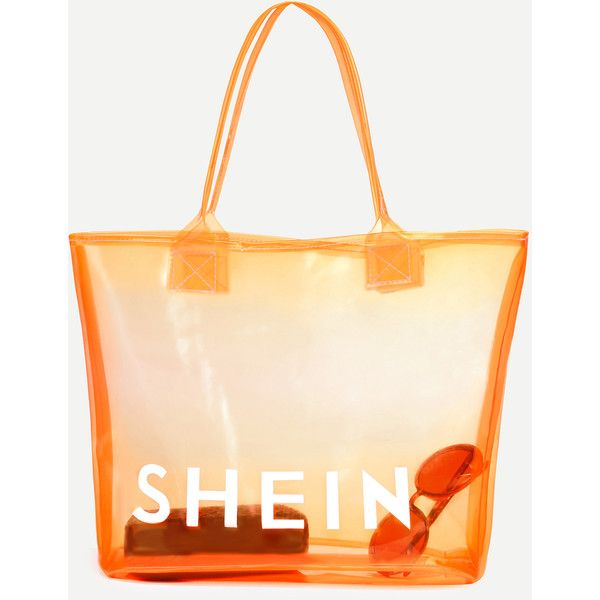 SheIn(sheinside) Orange SHEIN Print Clear Beach Tote Bag (€6,47) ❤ liked on Polyvore featuring bags, handbags, tote bags, beach bag tote, pvc tote bag, clear handbags totes, orange tote bag and clear beach bag