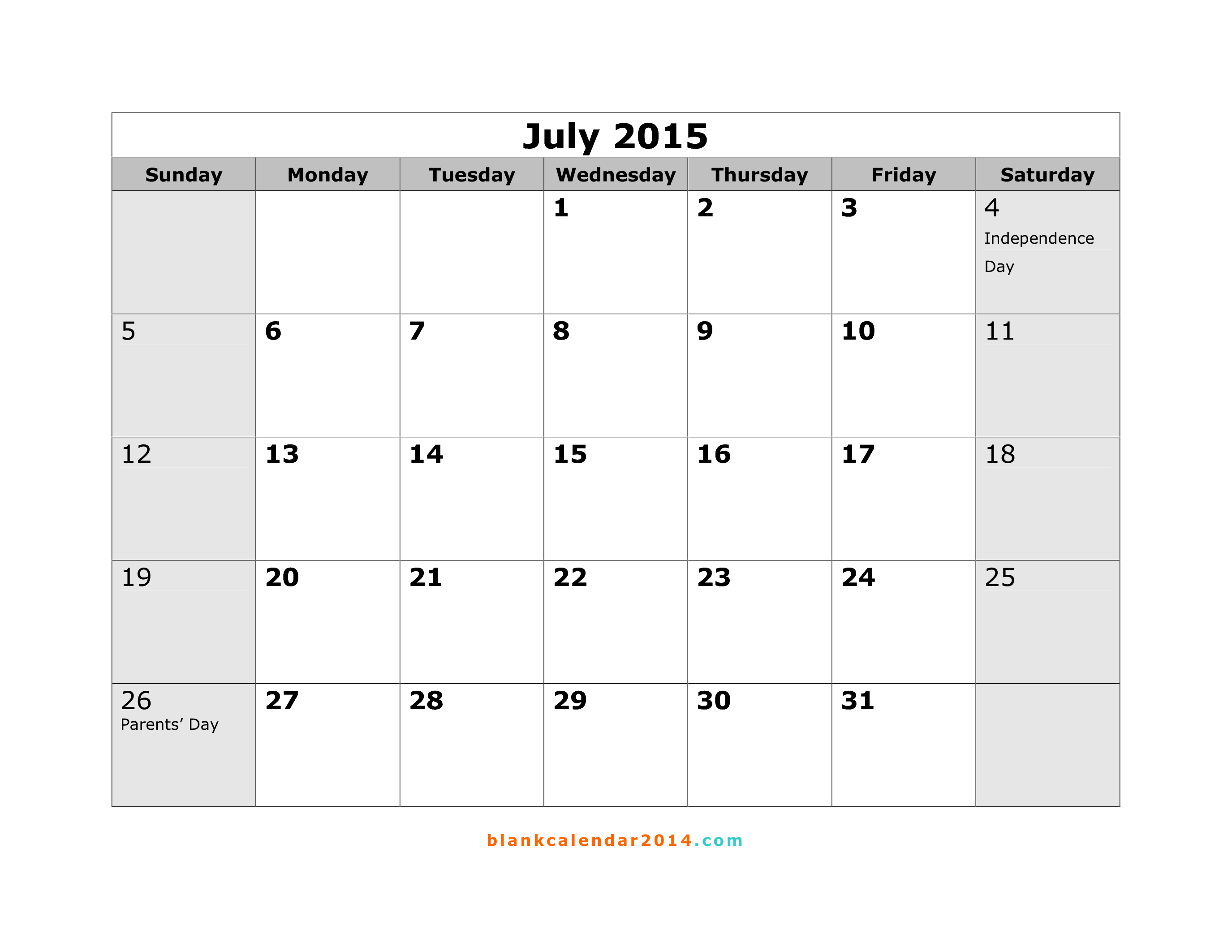 Calendar Of July   Calendar    Printable Monthly