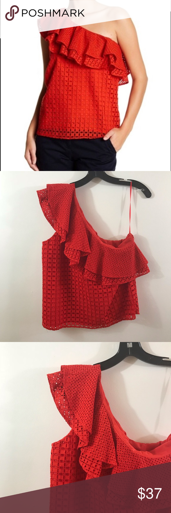 df8dc442d7b79 J. Crew One Shoulder Ruffle Top Eyelet Red Size 6 J. Crew One Shoulder